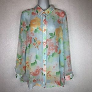J. Jill Floral Print Semi Sheer Button Up Blouse M